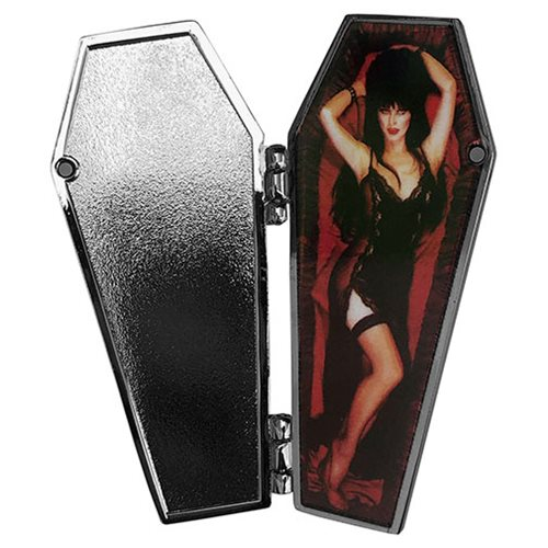Elvira Open Coffin Red Enamel Pin