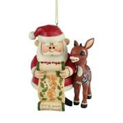 Rudolph the Red-Nosed Reindeer Rudolph and Santa with List Ornament by Jim Shore