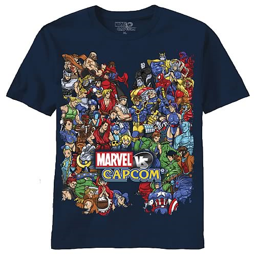 Marvel Vs. Capcom Size Them Up Navy T-Shirt