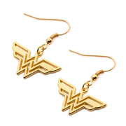 Wonder Woman Logo Gold Plated Dangle Earrings