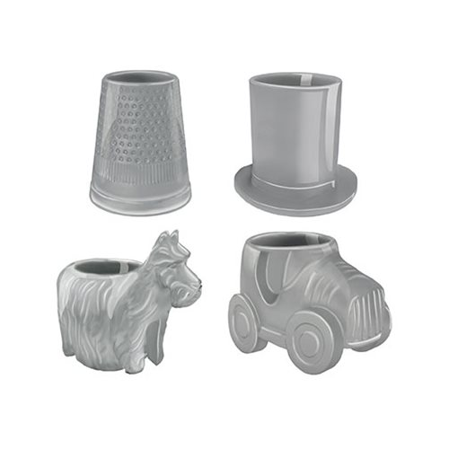 Monopoly Game Pieces Sculpted Ceramic Mini-Glass 4-Pack