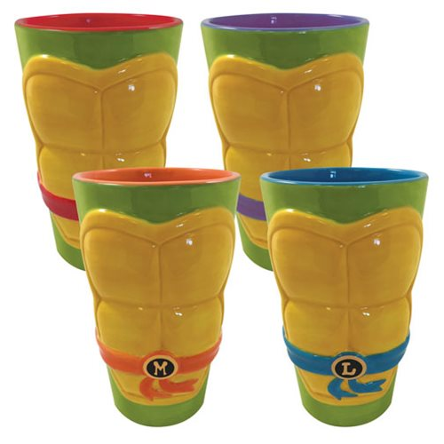 Teenage Mutant Ninja Turtles Molded Shell Ceramic Pint Glass 4-Pack