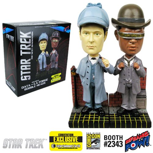Star Trek: The Next Generation Sherlock Holmes Data and La Forge Bobble Heads - Set of 2 Convention Exclusive, Not Mint