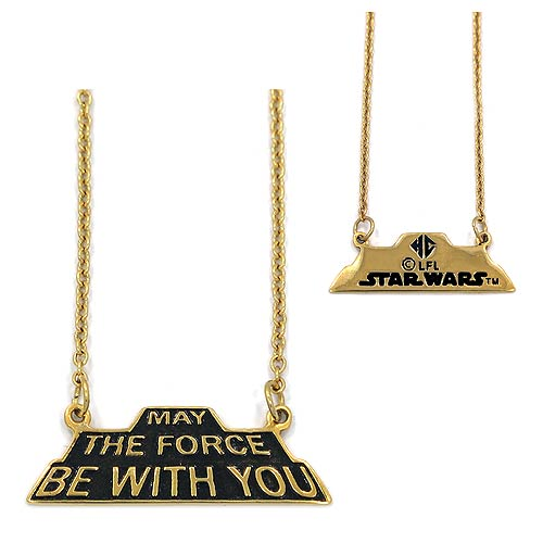 Star Wars May the Force Be with You Golden Pendant Necklace