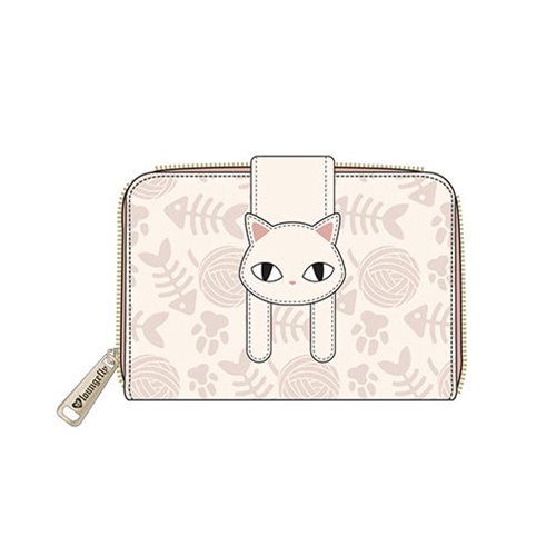Cat Fat with Fish Zip-Around Mini Wallet