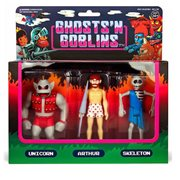 Ghosts n Goblins 3 3/4-Inch ReAction Figure Pack B - Unicorn, Arthur in Underwear, Skeleton