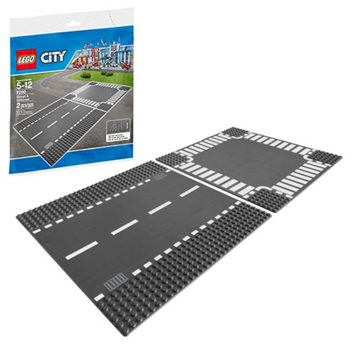 LEGO City 7280 Straight and Crossroad Baseplate Set