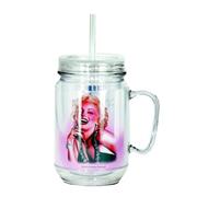 Marilyn Monroe Pose Clear Mason-Style Plastic Jar with Lid and Handle