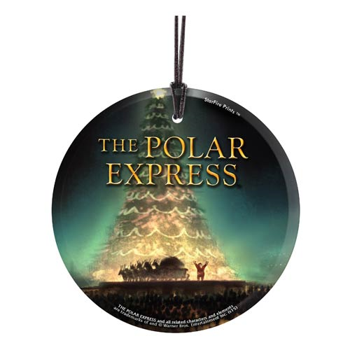 The Polar Express Tree StarFire Prints Hanging Glass Print