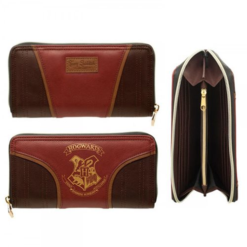 Harry Potter Gold Hogwarts Crest Zip Wallet