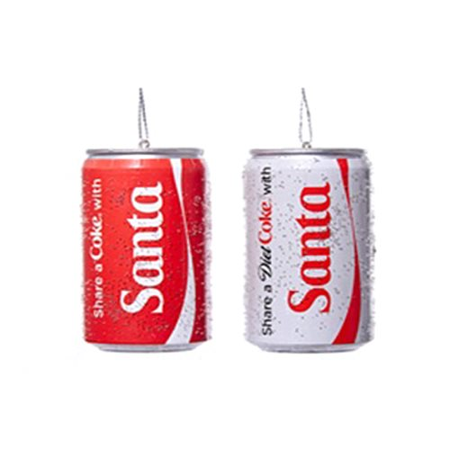 Coca-Cola Santa Share Coke & Diet Coke 3-Inch Ornament Set