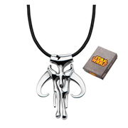 Star Wars Mandalorian Symbol Pendant Leather Cord Necklace
