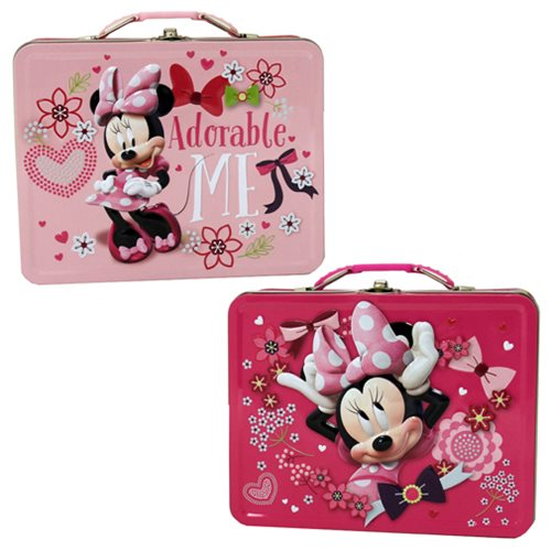 Minnie Mouse Large Carry All Embossed Tin Tote Lunch Box Set