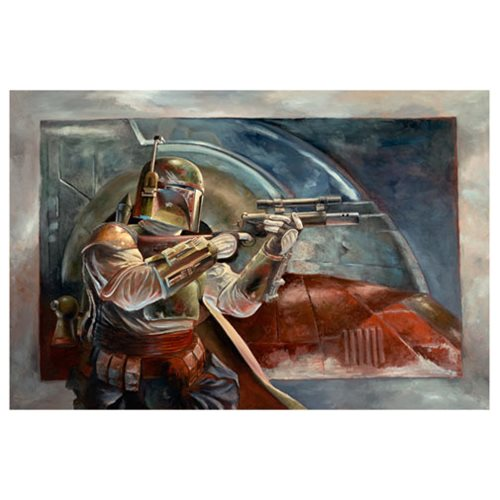 Star Wars Boba Fett with Slave 1 Canvas Giclee Print