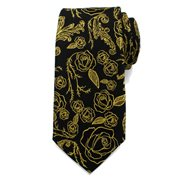 Beauty and the Beast Floral Rose Black Mens Silk Tie