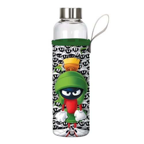 Looney Tunes Marvin the Martian 20 oz. Glass Water Bottle with Neoprene Sleeve