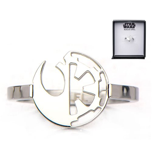 Star Wars Rogue One Rebel Alliance and Galactic Empire Symbol Cut Out Stainless Steel Ring