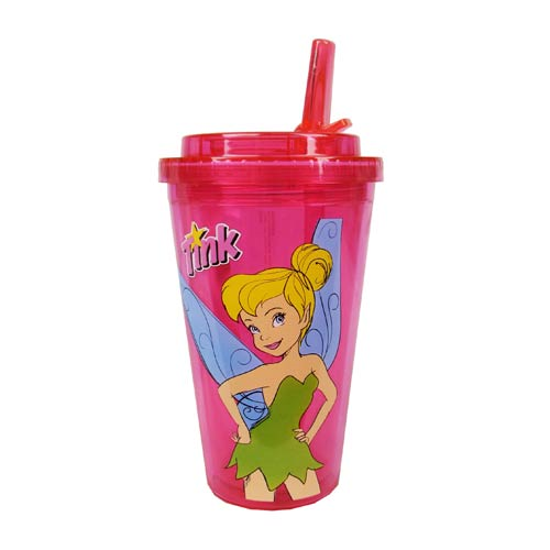 Disney Fairies Tinker Bell Plastic 16 oz. Flip-Straw Travel Cup