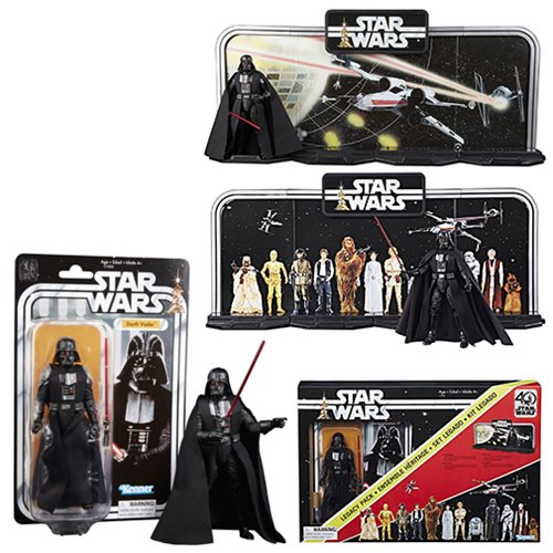 Star Wars The Black Series 40th Anniversary Display Diorama with Darth Vader 6-Inch Action Figure Legacy Pack, Not Mint