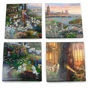 101 Dalmatians Thomas Kinkade Starfire Prints Glass Coaster Set