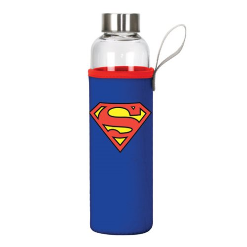 Superman Logo 20 oz. Glass Water Bottle with Neoprene Sleeve