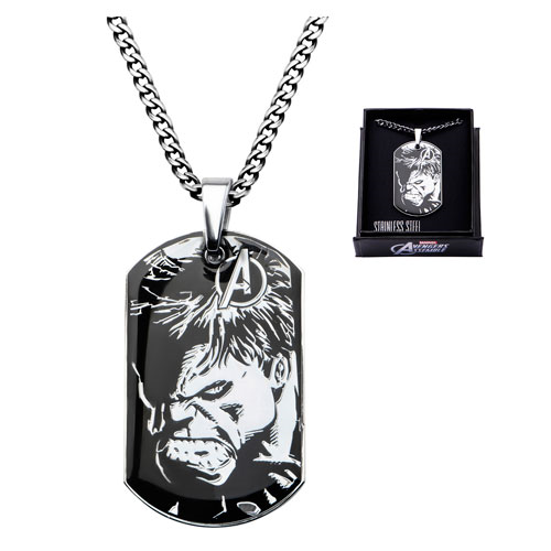 Avengers Hulk Steel Dog Tag and Chain Necklace
