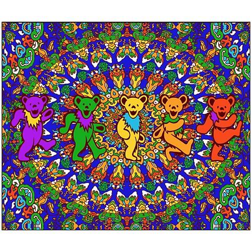 Grateful Dead Kaleidoscope Dancing Bears Fleece Blanket Fascinating Grateful Dead Throw Blanket