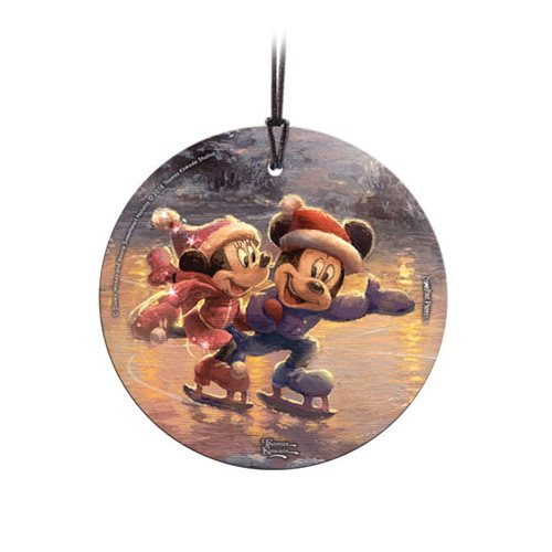 Disney Mickey Mouse and Minnie Mouse Sweetheart Holiday Thomas Kinkade StarFire Prints Hanging Glass Ornament