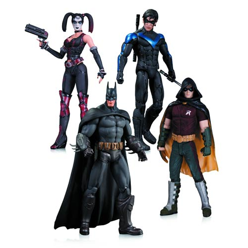 Batman Arkham City Harley Quinn, Batman, Nightwing, and Robin Action Figure 4-Pack