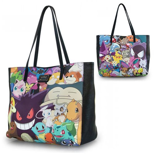 Pokemon Print Faux Leather Tote Purse