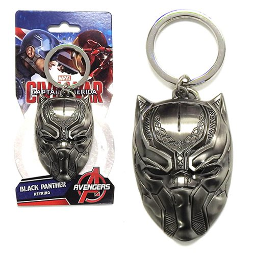 Black Panther Head Pewter Key Chain