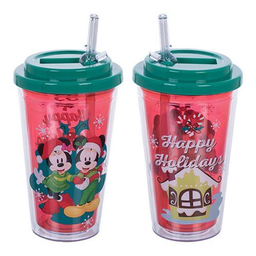 Mickey and Minnie Mouse Happy Holidays 16 oz. Flip-Straw Acrylic Cup