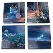 Disney Cinderella Dancing in the Starlight Thomas Kinkade StarFire Prints Glass Coaster Set