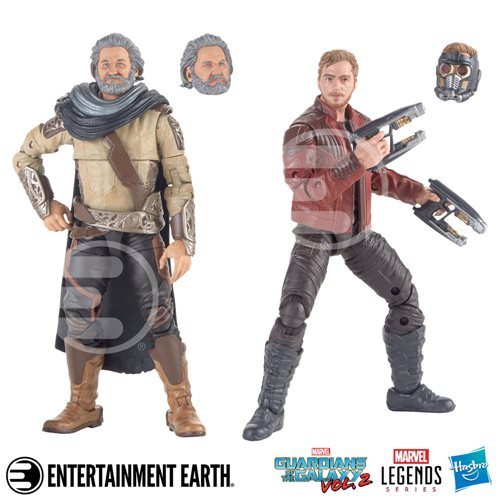 Guardians of the Galaxy Vol. 2 Marvel Legends Star-Lord and Ego Action Figures 2-Pack, Not Mint