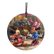 Mickey Mouse and Minnie Mouse Sweetheart Cafe Thomas Kinkade StarFire Prints Hanging Glass Ornament