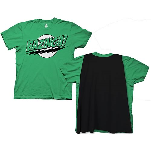 Big Bang Theory Green Bazinga With Cape Green T-Shirt