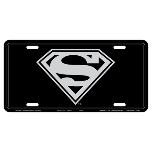 Superman Logo Stamped Metal License Plate