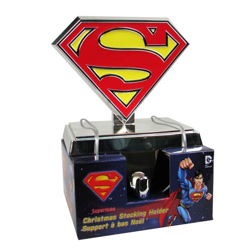 Superman Silver S Logo Christmas Stocking Hanger Statue