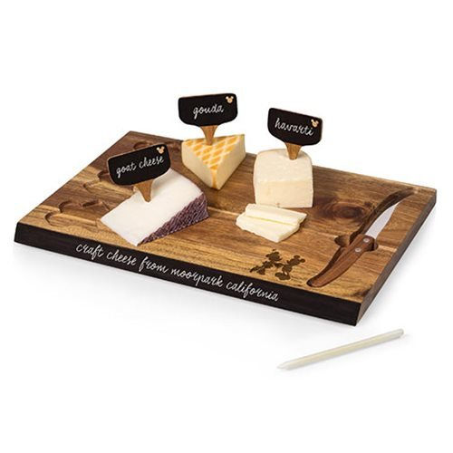 Mickey and Minnie Mouse Delio Acacia Cheese Board and Tools Set