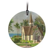 Thomas Kinkade Wailea Chapel StarFire Prints Hanging Glass Ornament