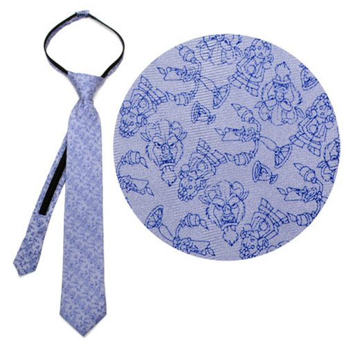Beauty and the Beast Characters Gray Boys Zipper Silk Tie