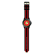The Flash Logo Black with Red Stripes Rubber Strap Watch