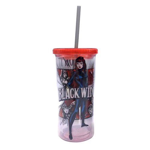 Marvel Comics Black Widow Don't Fall 20oz Plastic Tall Cold Cup with Lid and Straw