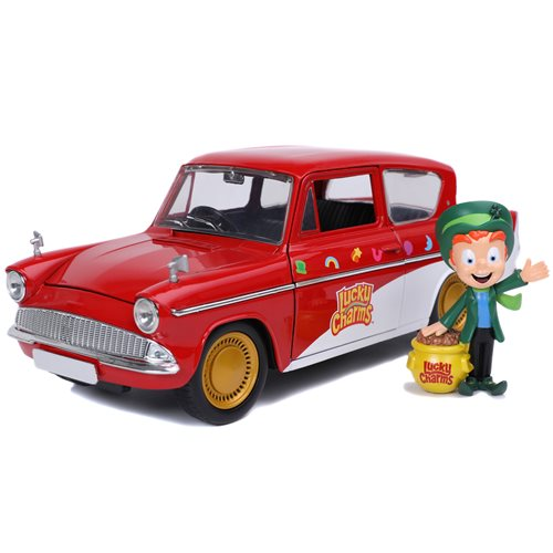 Hollywood Rides Lucky Charms 1959 Ford Anglia Die-Cast Metal Figure 1:24 Scale Vehicle