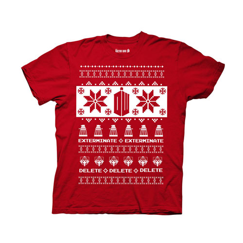 Dr Who Christmas Sweater.Doctor Who Villains Red Ugly Christmas Sweater T Shirt