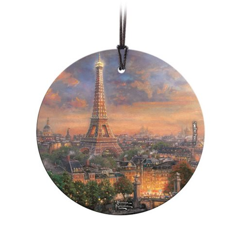 Thomas Kinkade Paris City of Love StarFire Prints Hanging Glass Ornament
