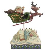 Rudolph the Red-Nosed Reindeer Rudolph Sleigh Over Village Statue by Jim Shore