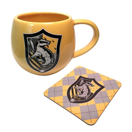Harry Potter Yellow Hufflepuff Crest 12 oz. Mug and Coaster Set