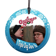 A Christmas Story Triple Dog Dare StarFire Prints Hanging Glass Print
