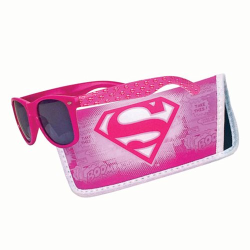 Supergirl Pink Logo Sunglasses with Carry Case
